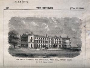 view Royal Hospital for Incurables, Putney Heath: panoramic view. Wood engraving, 1865, after W.P. Griffith.