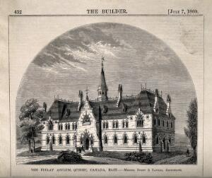 view Finlay Asylum, Quebec, Canada. Wood engraving, 1870, after Stent & Lavers.