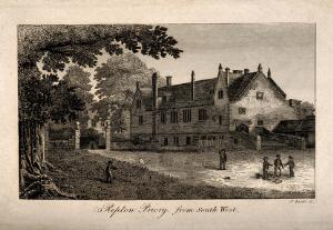 view Repton Priory, Repton, Derbyshire: children playing outside the priory. Line engraving by J. Basire.