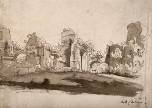 view The baths of Caracalla, Rome. Pen and ink drawing.