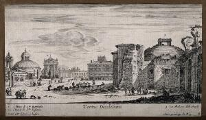 view Baths of Diocletian, Rome: with San Bernardo alle Terme, Santa Susanna and Santa Maria degli Angeli in the background. Etching by I. Sylvestre.