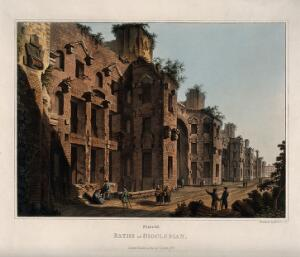 view Baths of Diocletian, Rome: people admiring the ruins. Coloured aquatint by M. Dubourg, 1820.