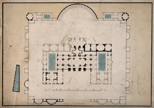 view Baths of Diocletian, Rome: floor plan. Coloured pen drawing.