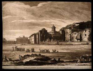 view Baths of Diocletian, Rome: a religious procession walking pass the Baths ruins and surrounding buildings. Tinted aquatint.
