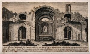 view Baths of Diocletian, Rome: panoramic view with a key of the ruins. Engraving.