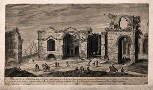 view Baths of Diocletian, Rome: ruins. Engraving.