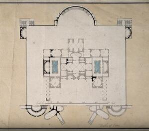 view Baths of Titus, Rome: floor plan. Coloured pen and ink drawing.