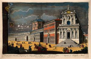 view Church and Hospital of the Holy Ghost, Rome: panoramic views. Coloured engraving by T. Bowles, 1750, after G.B. Piranesi.