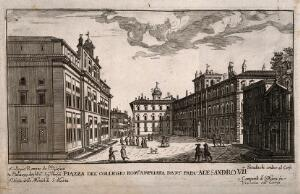 view Collegium Romanum, Rome: with the extended piazza a key to the surrounding buildings. Line engraving.