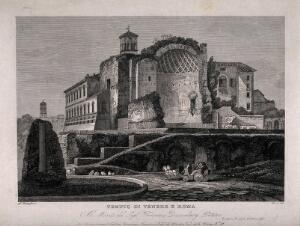 view Temple of Venus and Rome, Rome. Engraving by G. Cottafavi.