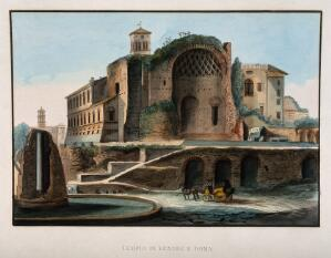 view Temple of Venus and Rome, Rome. Coloured etching.