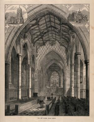 view Rugby School, Rugby, Warwickshire: the new chapel with two smaller sketches of the exterior. Wood engraving by W.F., 1872.