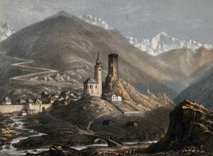 view St. Gothard Hospital, St. Gothard, Switzerland. Coloured lithograph by A. Cuvillier.