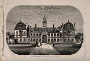 view Wellington College, Sandhurst, Berkshire. Wood engraving by W.E. Hodgkin, 1856, after B. Sly after J. Shaw.