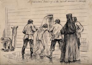 view A lame man being doused in water from a holy spring to procure a miraculous cure, in Sarepta (?), Russia. Pen and ink drawing, 1903.