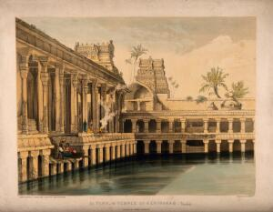 view Srirangam, India: water tank in the Temple. Coloured lithograph by T.C. Dibdin after J. Fergusson.