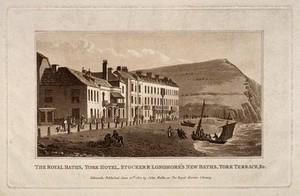 view Royal Baths, York Hotel, Stocker & Longmore's New Baths, York Terrace, Sidmouth, Devon. Tinted aquatint.