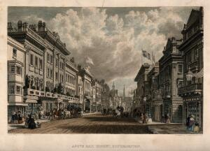 view Above Bar Street, Southampton, Hampshire. Coloured engraving by P. Brannon, 1846.
