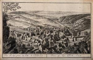 view Spa, Belgium: bird's eye view prints from the north-east. Etching by H.J. Godin.