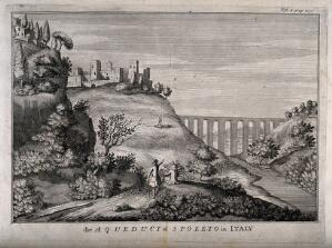 view Aqueduct, Spoleto, Italy: panoramic view. Engraving.