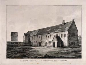 view Hospital, Stevington, Bedfordshire. Aquatint.