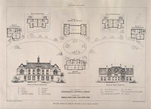 view Orphanage, Swanley, Kent: floor plans, elevations, and site layout. Photolithographs by Whiteman & Bass, 1882, after H. Spalding.