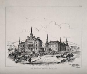 view Swansea Infirmary, Swansea: proposed designs. Transfer lithograph by J.R. Jobbins after A. Graham.