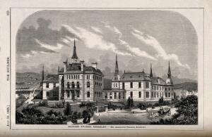 view Swansea Infirmary, Swansea: proposed plans. Wood engraving by W.E. Hodgkin, 1865, after J.M. Rogers after A. Graham.