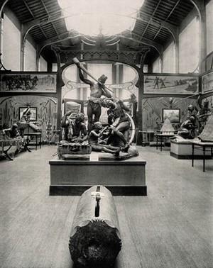 view Musée du Congo, Tervuren, Belgium: one of five scenes of the interior. Collotype.