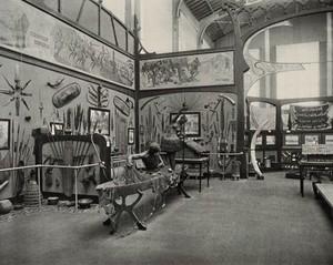 view Musée du Congo, Tervuren, Belgium: one of five interior scenes showing African life. Collotype.