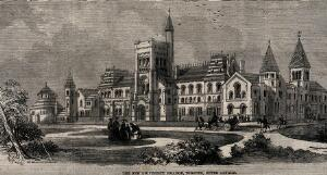 view New University College, Toronto, Canada: panoramic view. Wood engraving by Madgourd.