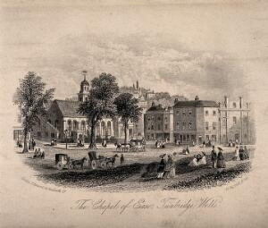 view Chapel of Ease, Tunbridge Wells, Kent: panoramic view from the main square. Etching, 1854.
