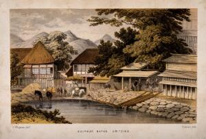 view Sulphur Baths, Uritzino, Japan: panoramic view. Coloured lithograph by Hanhart after C. Wirgman.