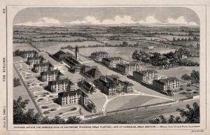 view Asylum for Imbecile Poor, proposed for Leavesden Woodside, near Watford, and Caterham, Surrey: bird's eye view. Wood engraving by W.C. Smith, 1868, after J. Giles & Bivan.