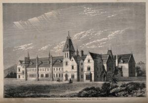 view New Diocesan Training College, Winchester, Hampshire. Wood engraving by W. Sardue after J. Colson.