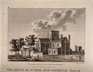 view Church of St. Cross, Winchester, Hampshire. Etching by J. Bonner, 1783.