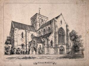 view St. Cross Church, Winchester, Hampshire. Lithograph by A. Newman after J. Johnson.