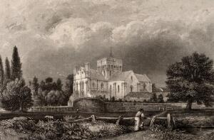 view St. Cross Church, Winchester, Hampshire: panoramic view. Engraving by J. Shury & Son after G.S. Shepherd.