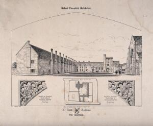 view Hospital of St. Cross, Winchester, Hampshire: the quadrangle and floor plan and architectural details. Transfer lithograph by J.R. Jobbins, 1857, after F.T. Dollman.