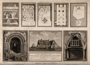 view Magdalen Hospital and Chapel, Winchester, Hampshire: with design and architectural sketches. Engraving by J. Basire, 1790, after J. Schnebbelie, 1788.