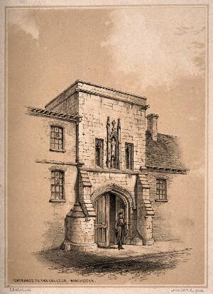 view St Mary College of Winchester (Winchester College), Winchester, Hampshire: entrance gate. Tinted lithograph by F. Bedford.
