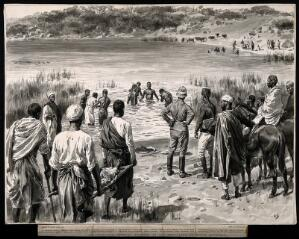 view Holy Lake, Mount Zouquala, Abyssinia: pilgrims being lead to the lake in hope of a miracle. Watercolour drawing by F. Dadd, 1897.