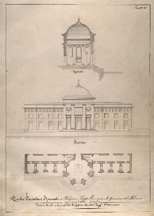 view An Italian lazaretto: section, facade and floor plan of the chapel and visiting room. Pen drawing by I. Cremona, 1818-1820.