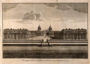 view Royal Naval Hospital, Greenwich. Etching by B. Cole.