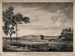 view The London Hospital, Whitechapel: viewed from the north, across Whitechapel Road. Engraving by J.-B.-C. Chatelain and W.H. Toms, 1753, after W. Bellers, 1752, after B. Mainwaring, 1751.