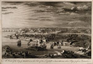 view Malta: view of the quarantine area. Etching by M-A. Benoist, c. 1770, after J. Goupy, c. 1725.