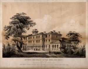view National Orphan Home, Ham, Surrey: side view. Lithograph, c. 1856.