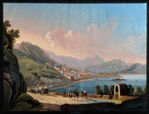 view Salerno, Italy. Gouache painting.