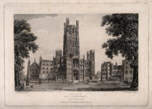 view Ely Cathedral, Cambridgeshire: west front. Etching by R.W. Smart after R.B. Harraden.