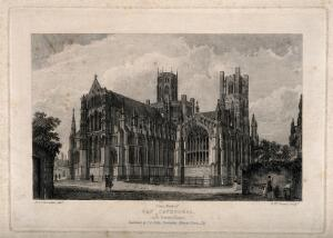 view Ely Cathedral, Cambridgeshire: east front. Etching by R.W. Smart after R.B. Harraden.